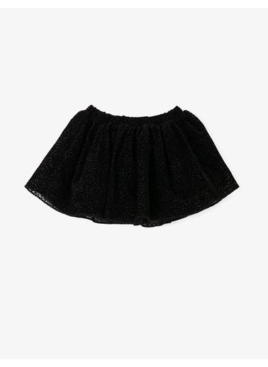 Koton Pileli Tül Mini Etek Siyah